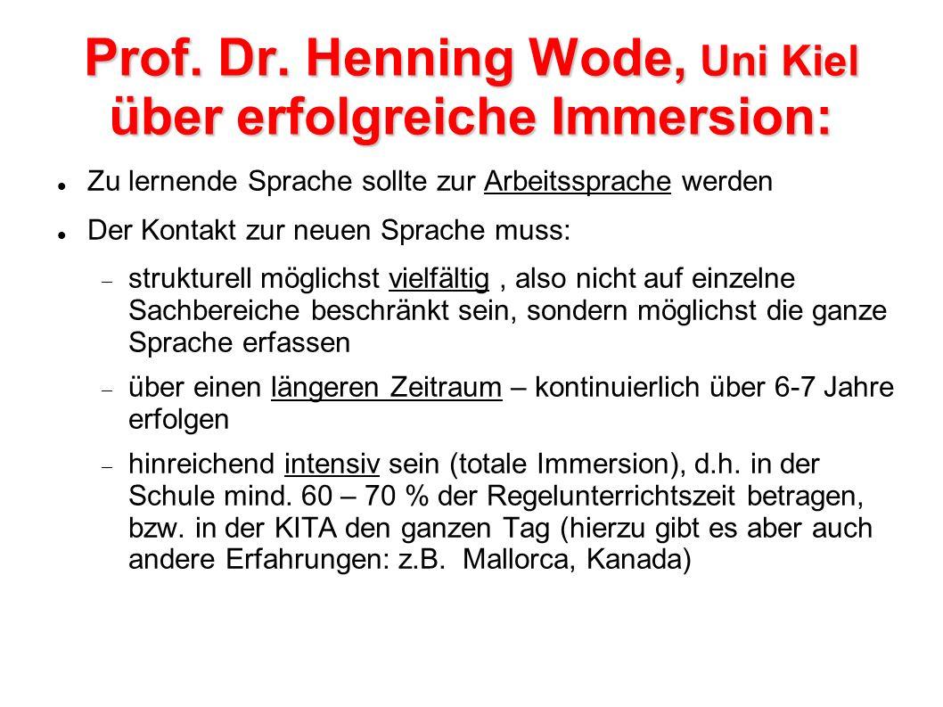 Prof. Dr. Henning Wode, Uni Kiel über erfolgreiche Immersion: