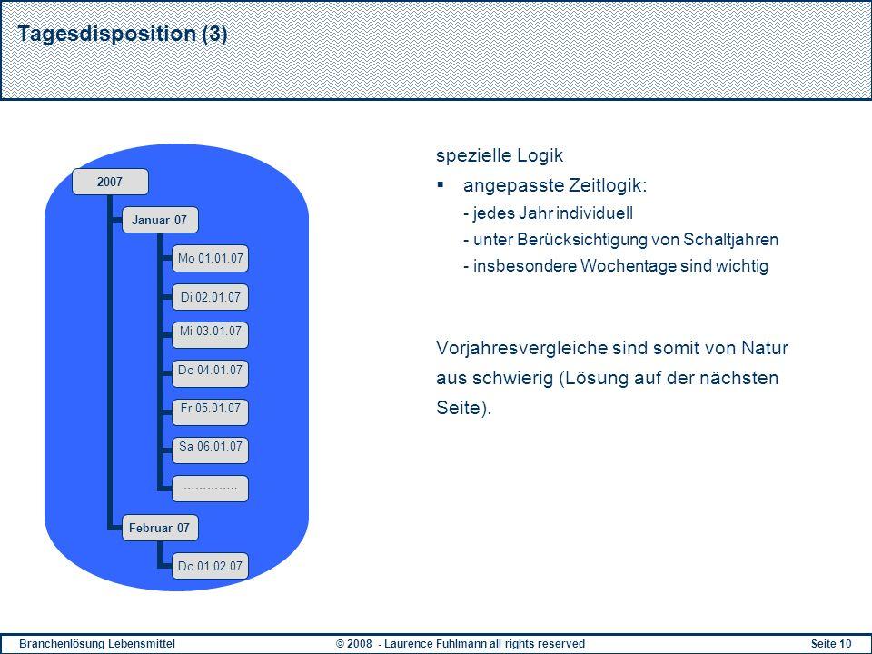 Tagesdisposition (3) spezielle Logik angepasste Zeitlogik: