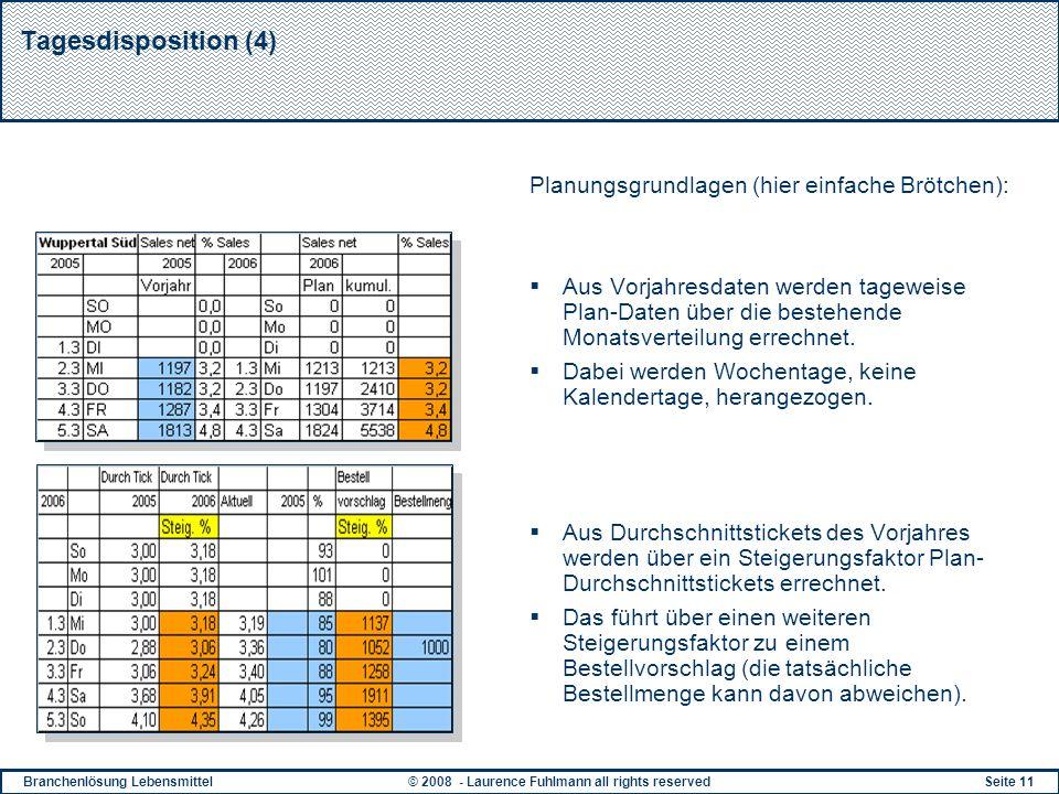 Tagesdisposition (4) Planungsgrundlagen (hier einfache Brötchen):