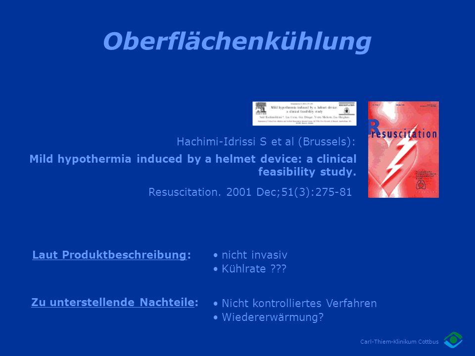 Oberflächenkühlung Hachimi-Idrissi S et al (Brussels):