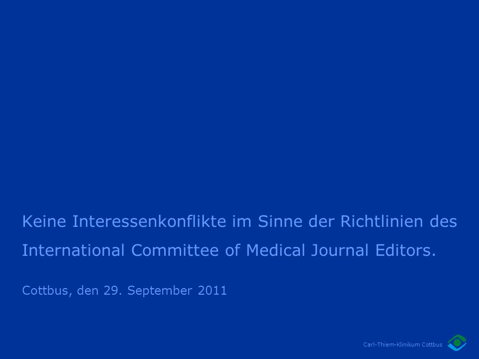 Keine Interessenkonflikte im Sinne der Richtlinien des International Committee of Medical Journal Editors.
