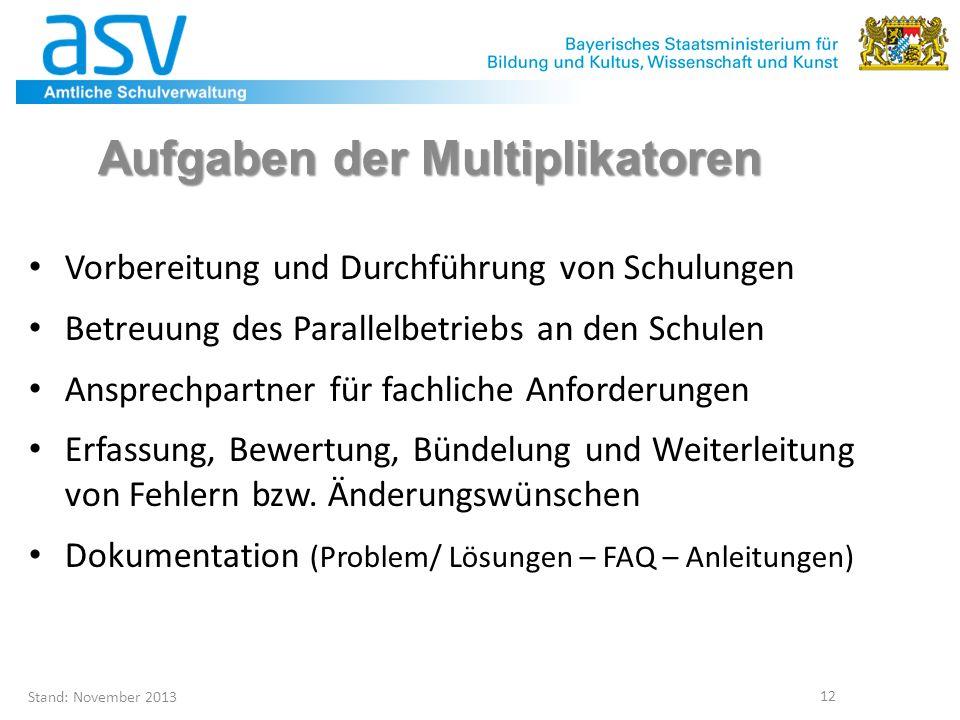 Aufgaben der Multiplikatoren