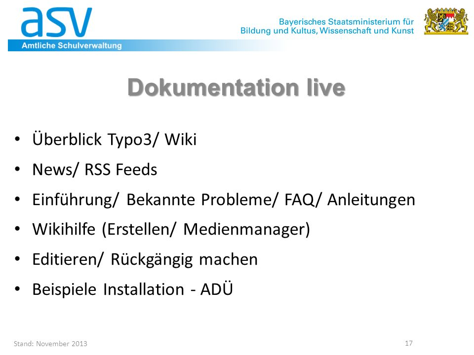 Dokumentation live Überblick Typo3/ Wiki News/ RSS Feeds