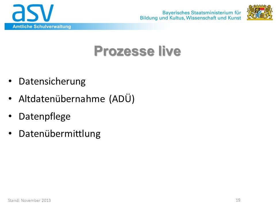 Prozesse live Datensicherung Altdatenübernahme (ADÜ) Datenpflege