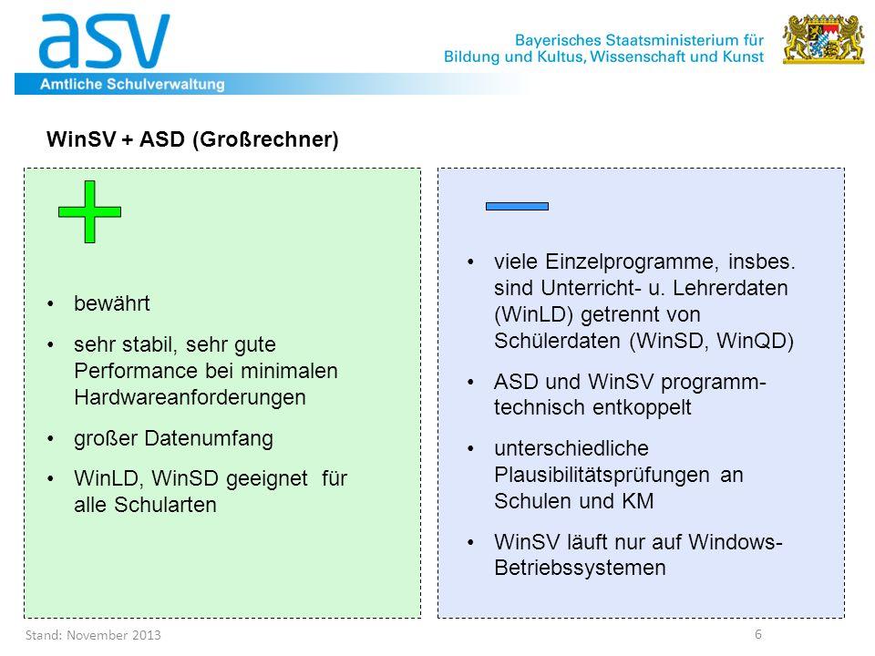 WinSV + ASD (Großrechner)