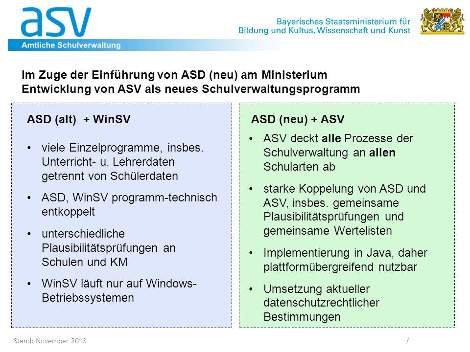 Im Zuge der Einführung von ASD (neu) am Ministerium