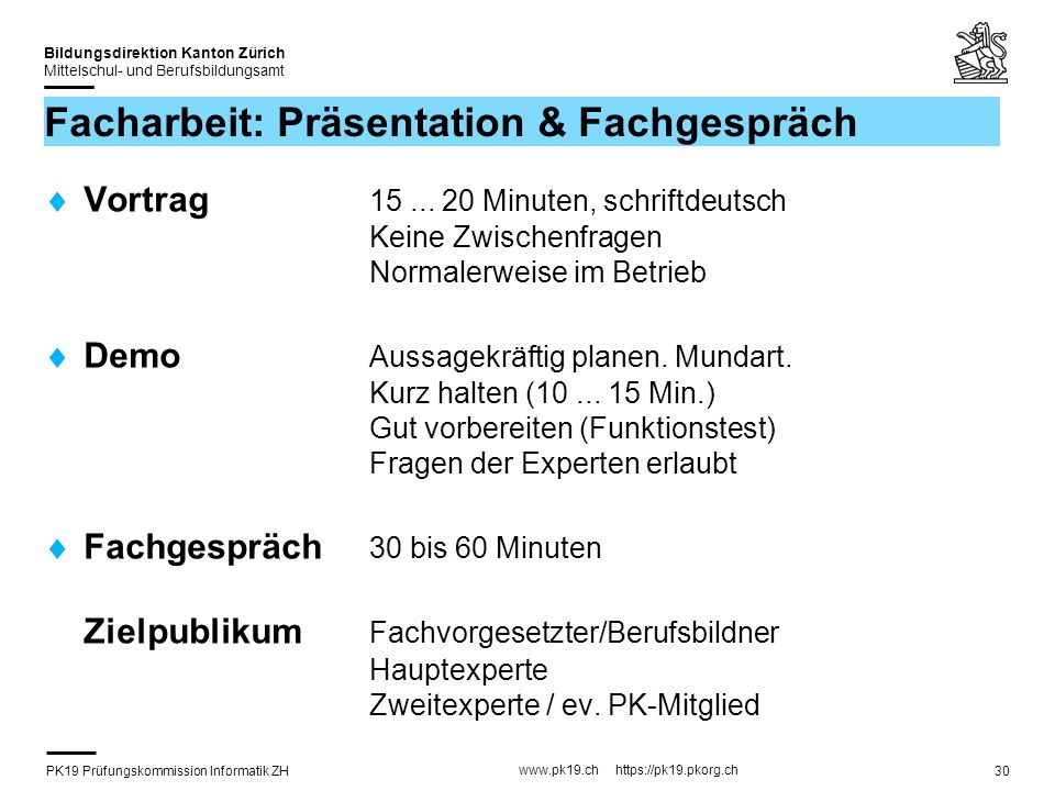 Facharbeit: Präsentation & Fachgespräch