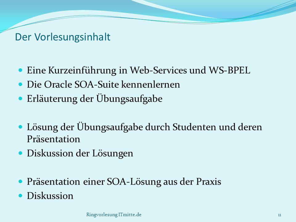 Der Vorlesungsinhalt Eine Kurzeinführung in Web-Services und WS-BPEL