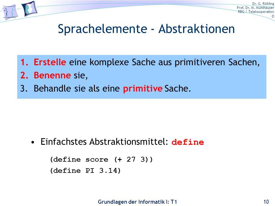 Sprachelemente - Abstraktionen