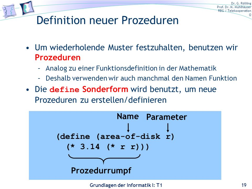Definition neuer Prozeduren