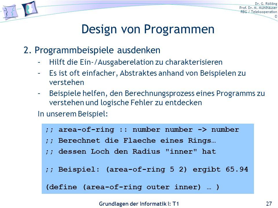 Design von Programmen 2. Programmbeispiele ausdenken