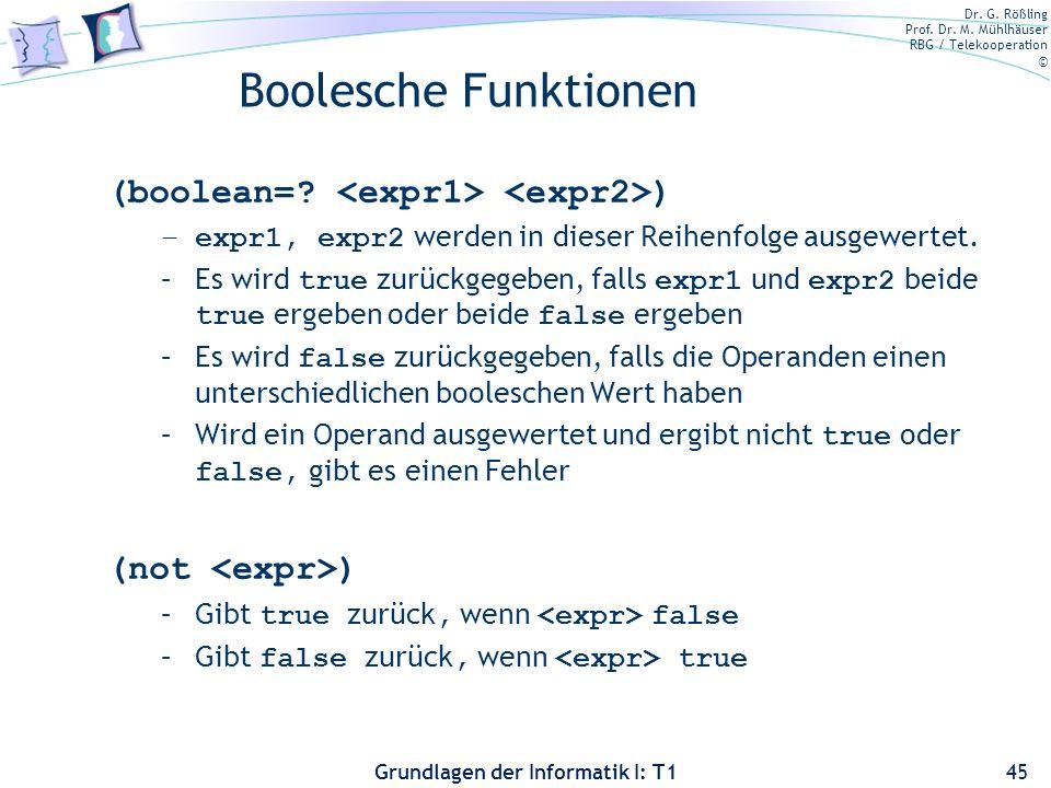 Boolesche Funktionen (boolean= <expr1> <expr2>)