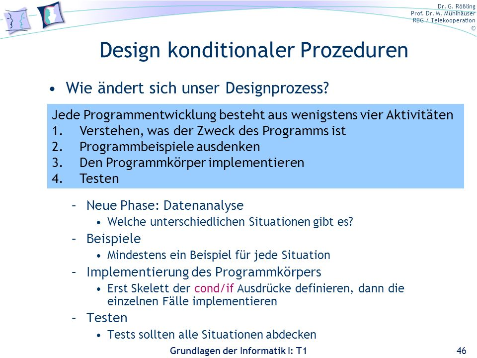 Design konditionaler Prozeduren