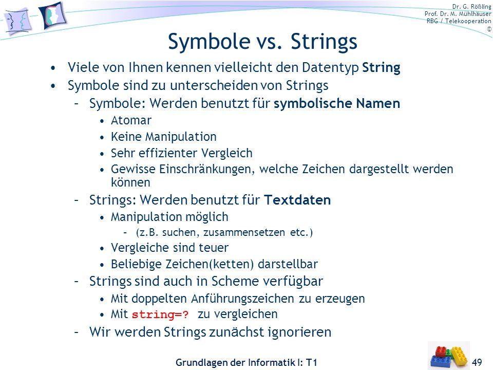 Bernt Schiele 3/28/2017. Symbole vs. Strings. Viele von Ihnen kennen vielleicht den Datentyp String.