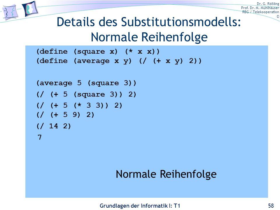 Details des Substitutionsmodells: Normale Reihenfolge
