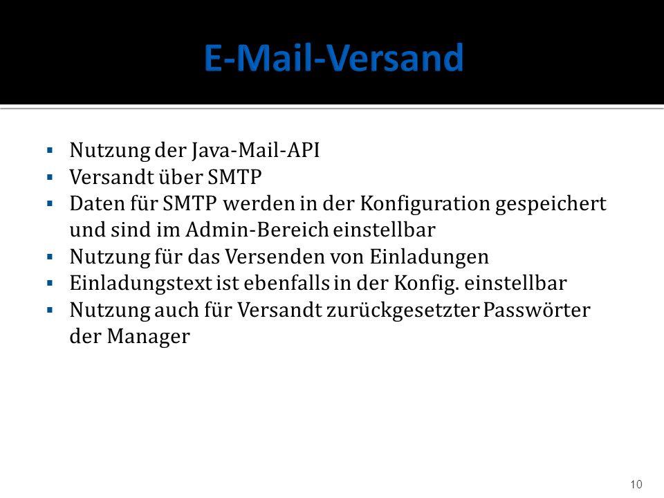 E-Mail-Versand Nutzung der Java-Mail-API Versandt über SMTP