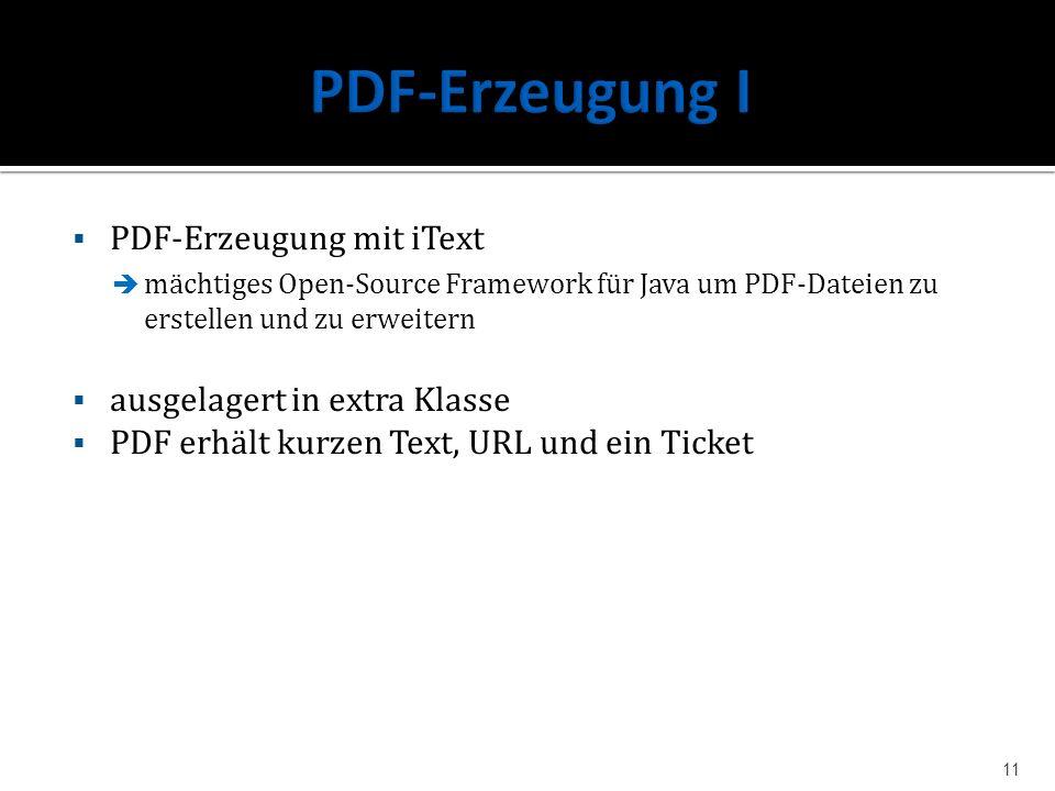 PDF-Erzeugung I PDF-Erzeugung mit iText ausgelagert in extra Klasse
