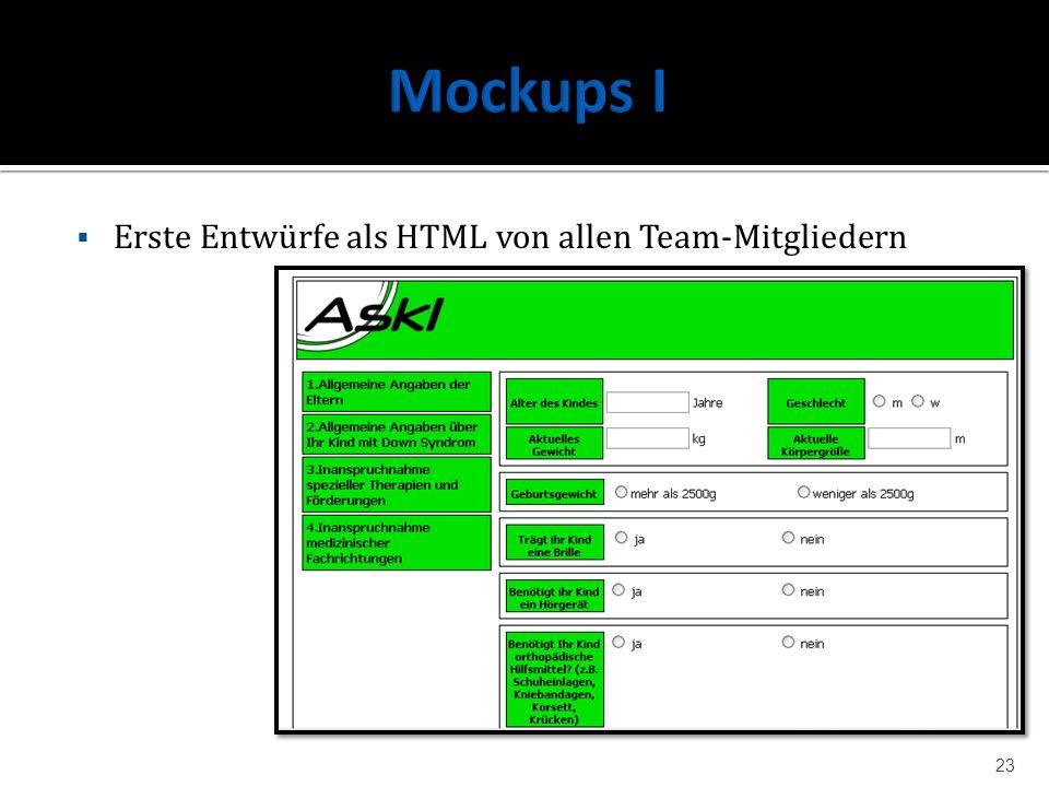Mockups I Erste Entwürfe als HTML von allen Team-Mitgliedern