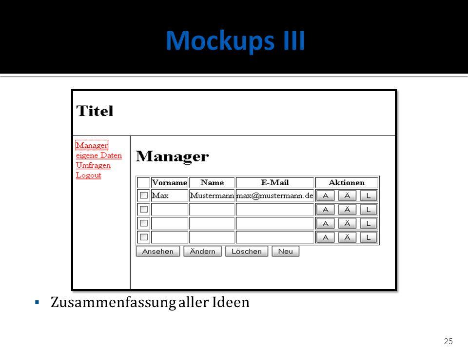 Mockups III Zusammenfassung aller Ideen