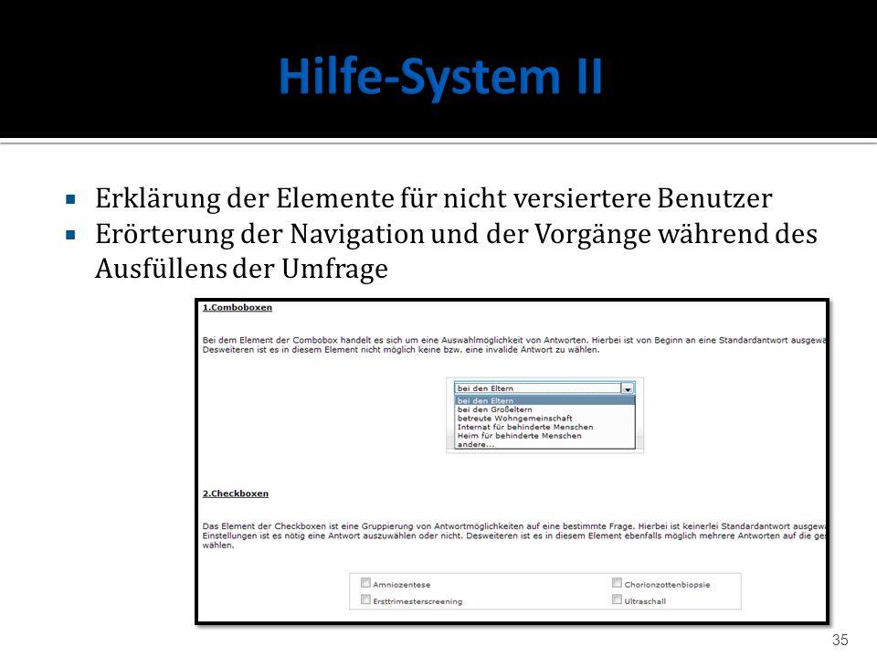 Hilfe-System II Erklärung der Elemente für nicht versiertere Benutzer