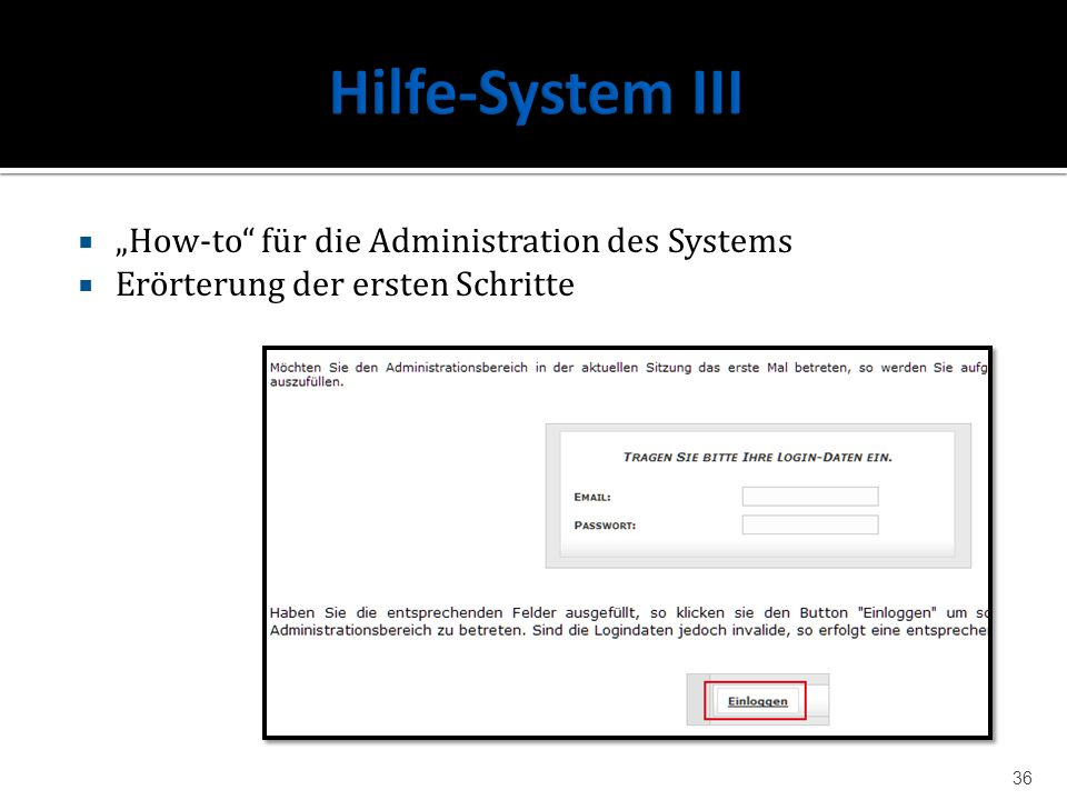 "Hilfe-System III ""How-to für die Administration des Systems"
