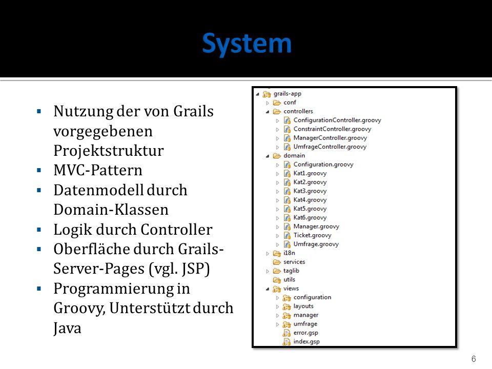 System Nutzung der von Grails vorgegebenen Projektstruktur MVC-Pattern