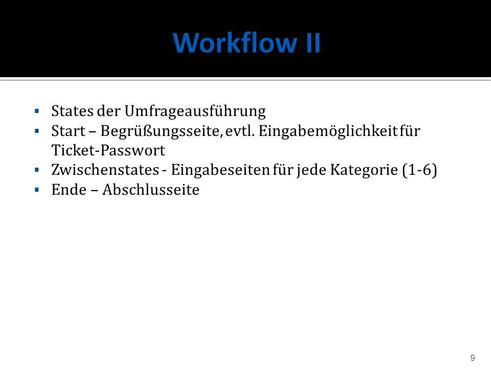 Workflow II States der Umfrageausführung