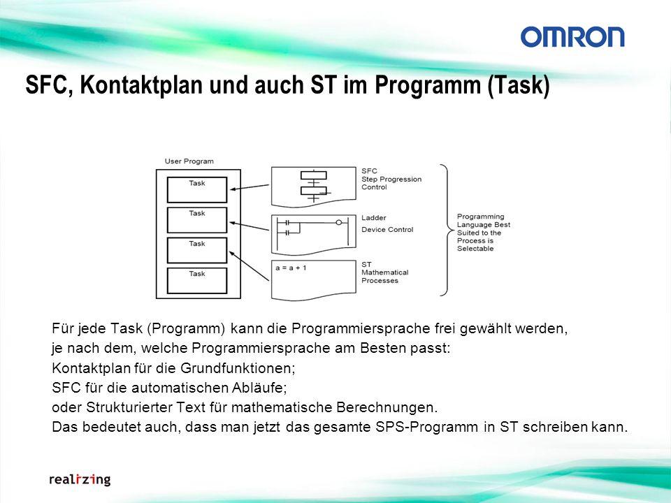 SFC, Kontaktplan und auch ST im Programm (Task)
