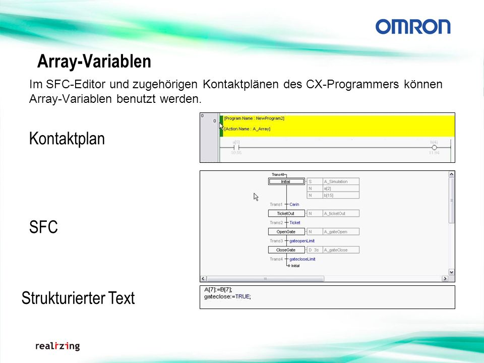 Array-Variablen Kontaktplan SFC Strukturierter Text