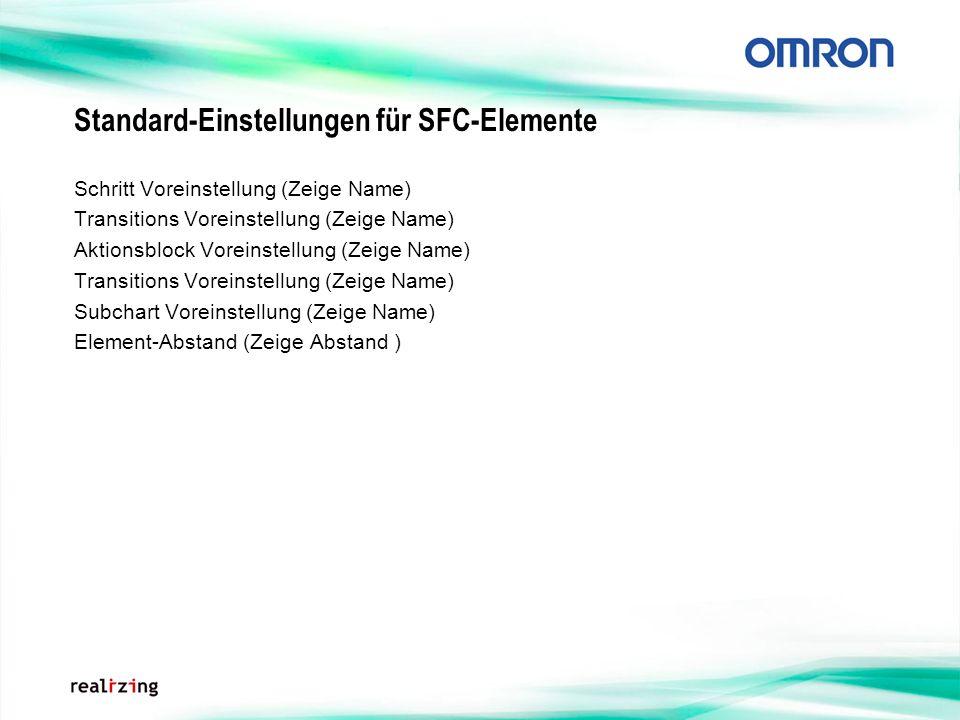 Standard-Einstellungen für SFC-Elemente