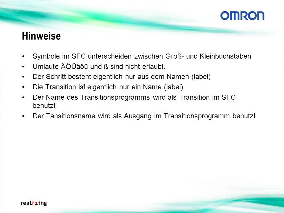 Hinweise Symbole im SFC unterscheiden zwischen Groß- und Kleinbuchstaben. Umlaute ÄÖÜäöü und ß sind nicht erlaubt.