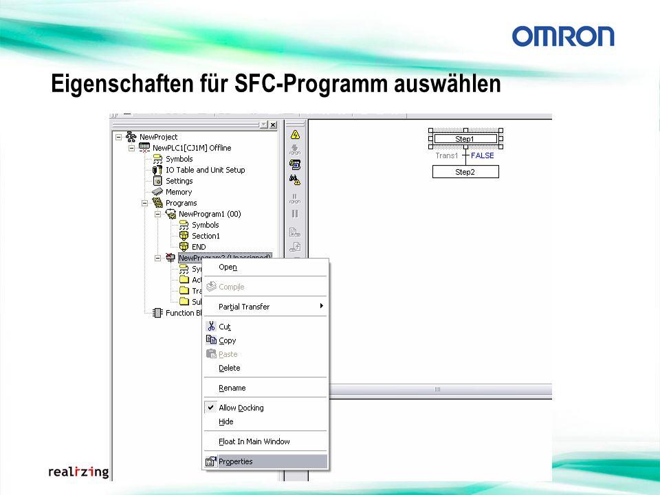 Eigenschaften für SFC-Programm auswählen