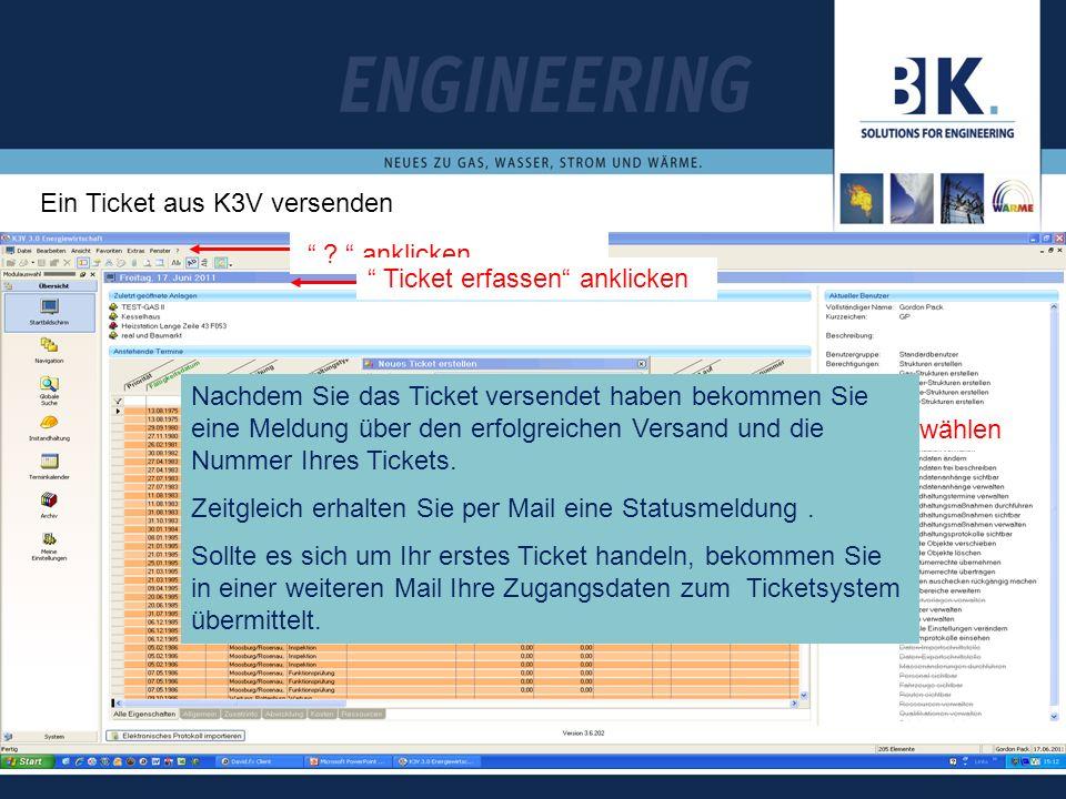 Ein Ticket aus K3V versenden