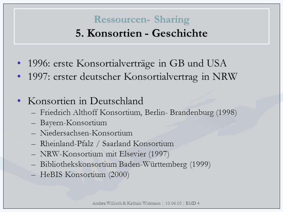 Ressourcen- Sharing 5. Konsortien - Geschichte
