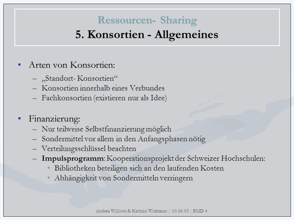 Ressourcen- Sharing 5. Konsortien - Allgemeines