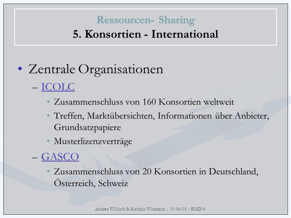 Ressourcen- Sharing 5. Konsortien - International