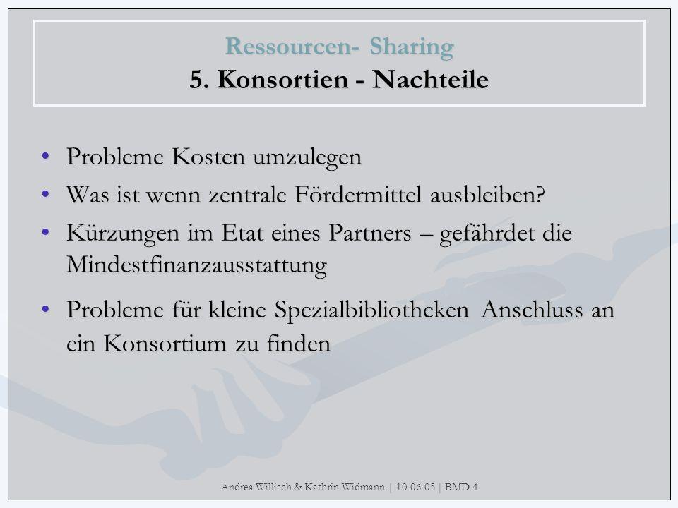 Ressourcen- Sharing 5. Konsortien - Nachteile