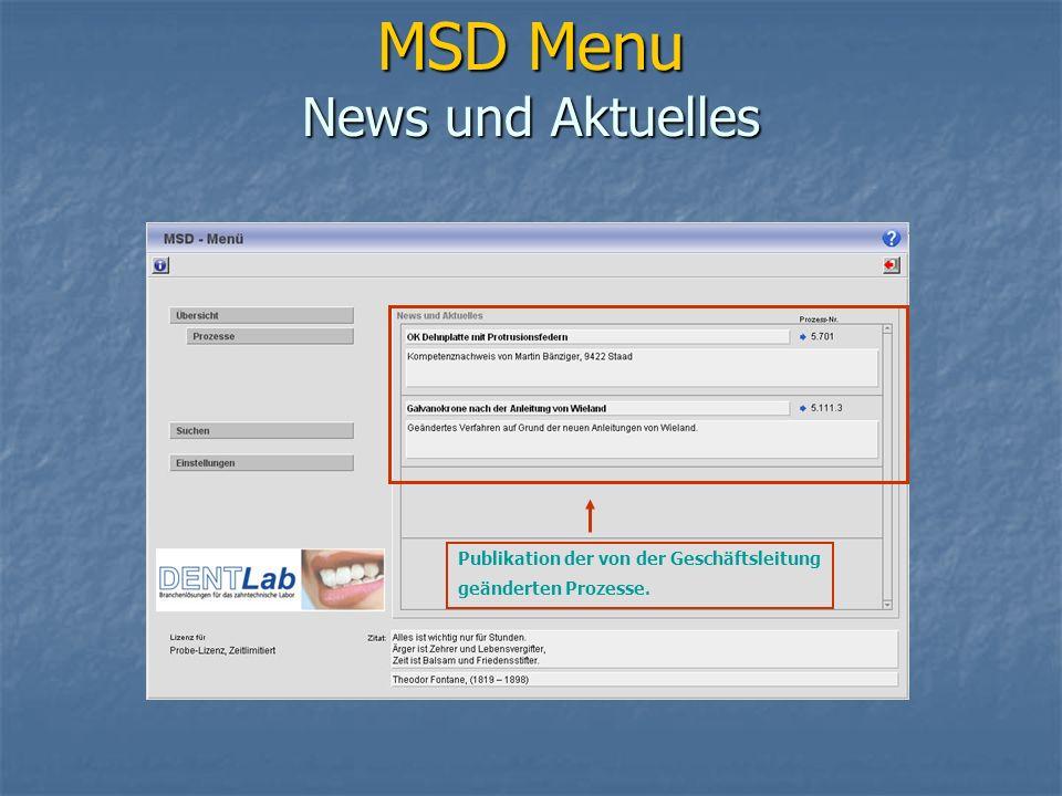 MSD Menu News und Aktuelles