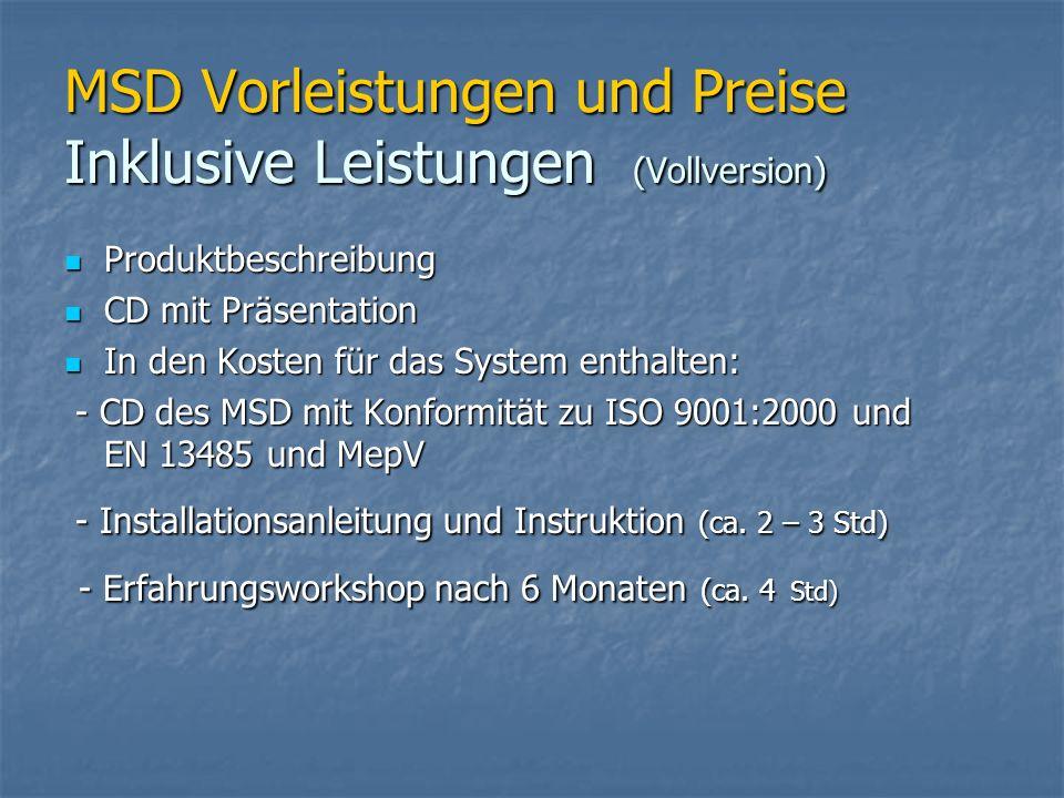 MSD Vorleistungen und Preise Inklusive Leistungen (Vollversion)
