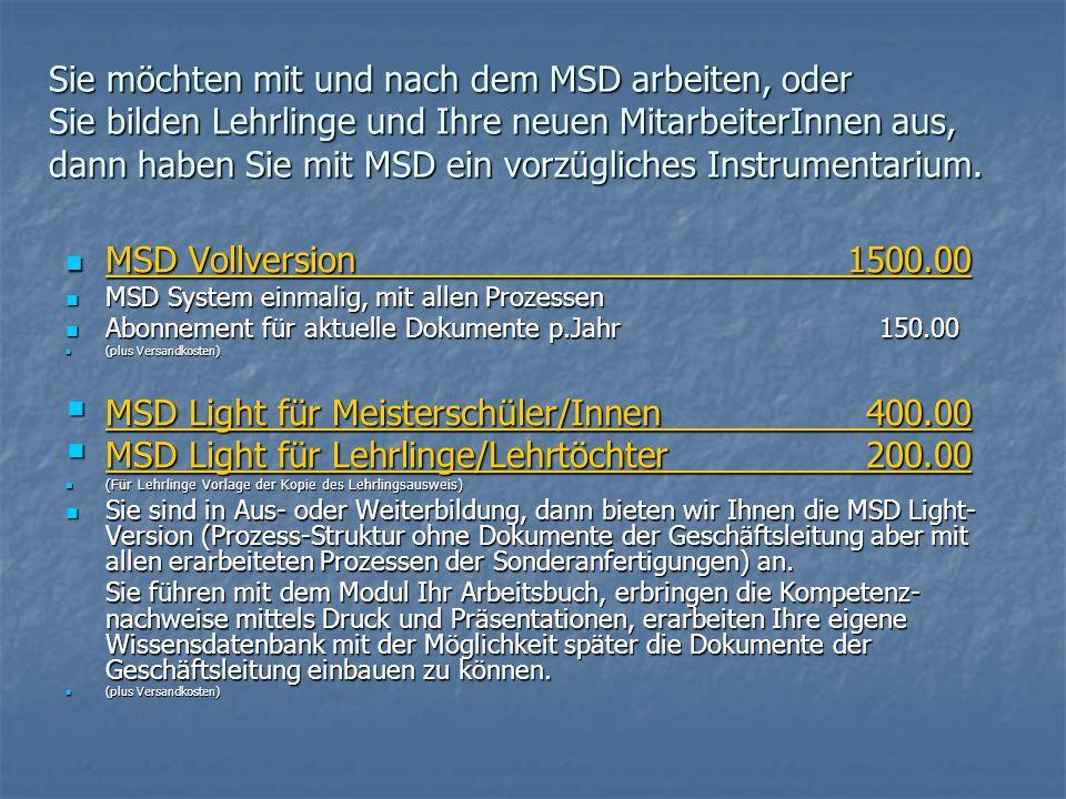 MSD Light für Meisterschüler/Innen 400.00