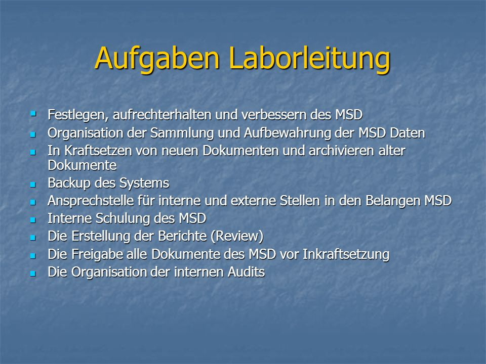 Aufgaben Laborleitung