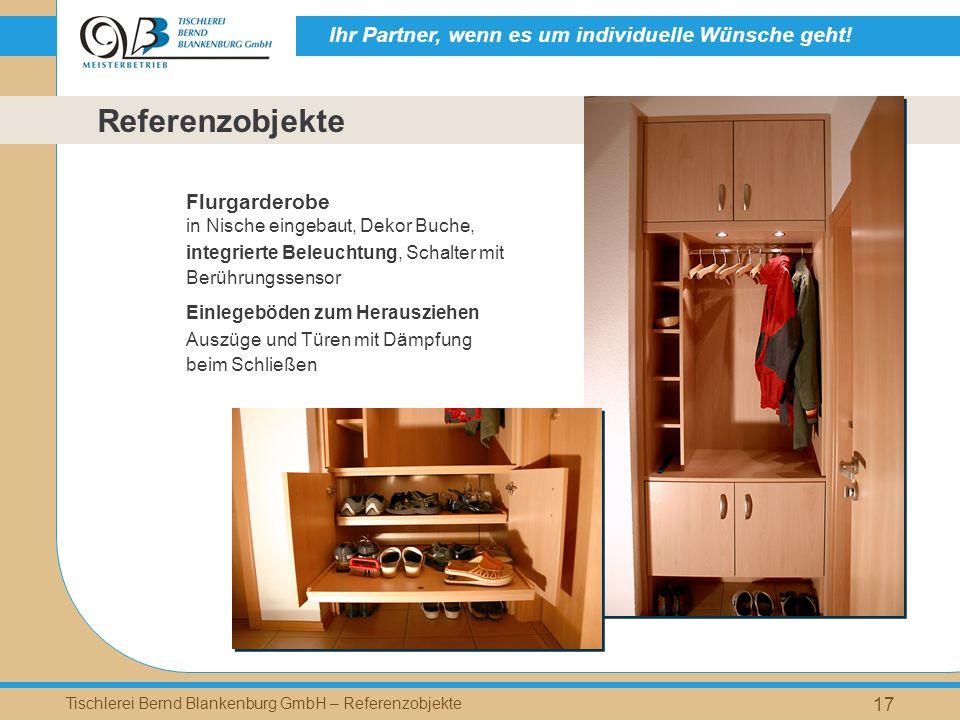 Referenzobjekte Flurgarderobe in Nische eingebaut, Dekor Buche,