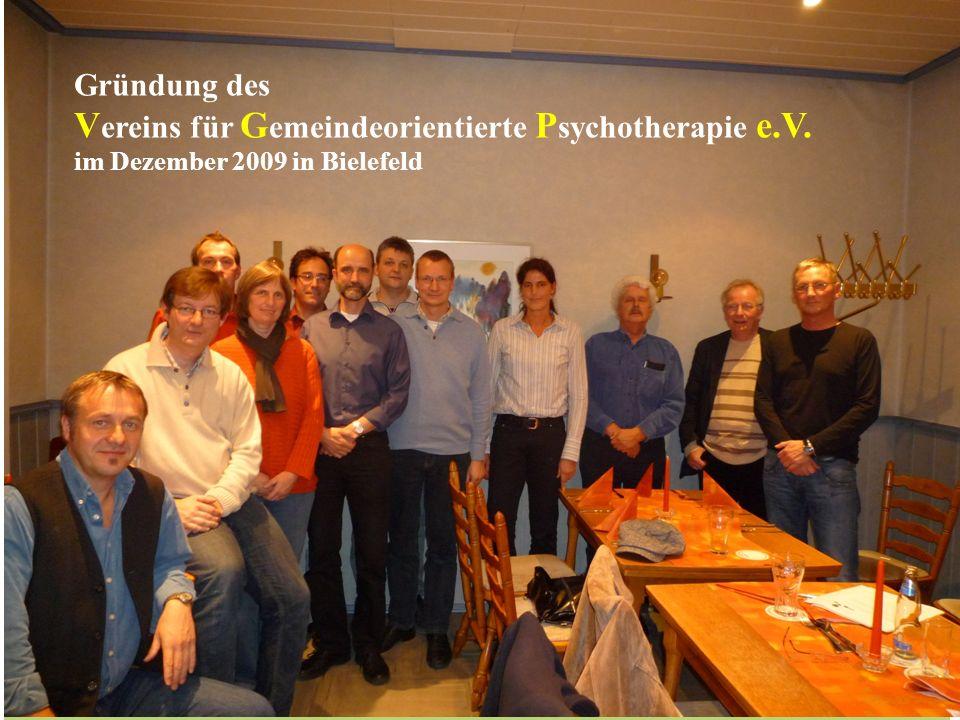 -. Vereins für Gemeindeorientierte Psychotherapie e.V. Gründung des
