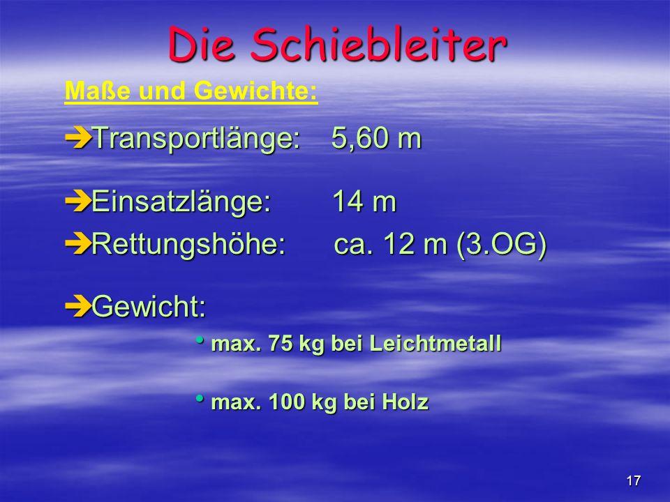 Die Schiebleiter Transportlänge: 5,60 m Einsatzlänge: 14 m