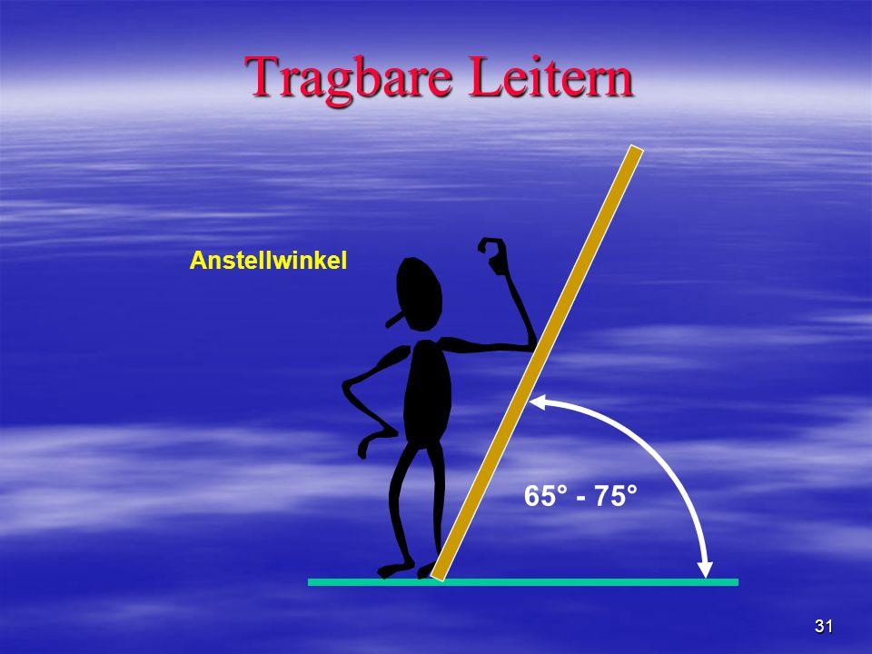 Tragbare Leitern 65° - 75° Anstellwinkel