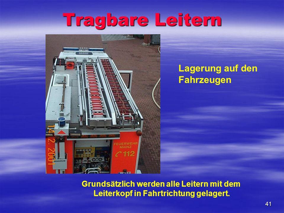 Tragbare Leitern Lagerung auf den Fahrzeugen