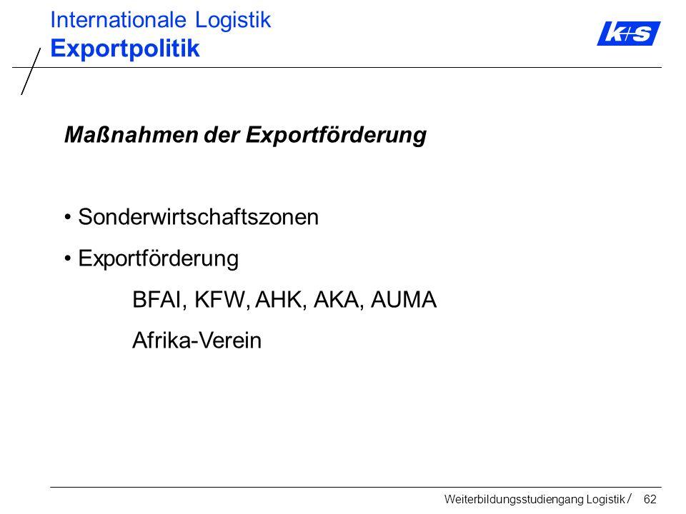 Exportpolitik Internationale Logistik Maßnahmen der Exportförderung