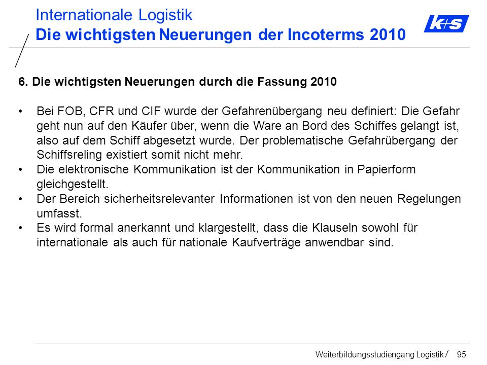 Internationale Logistik Die wichtigsten Neuerungen der Incoterms 2010