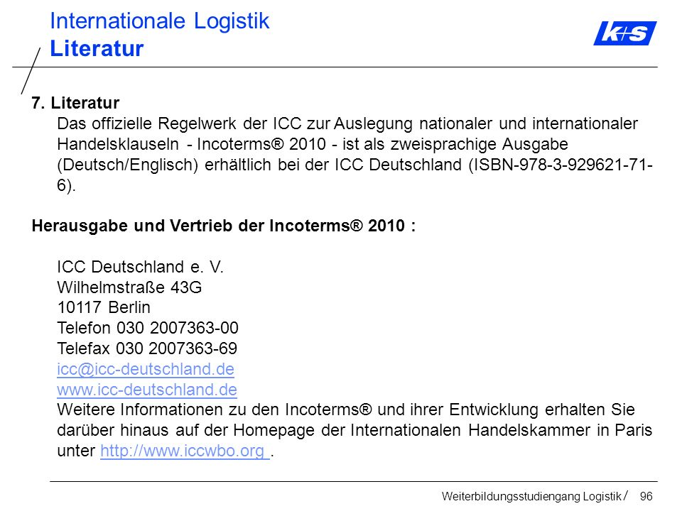 Internationale Logistik Literatur