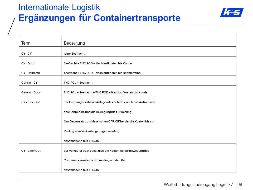 Ergänzungen für Containertransporte